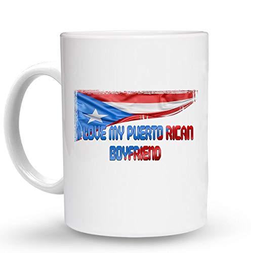 Makoroni - I LOVE MY PUERTO RICAN BOYFRIEND Puerto Rican Puerto Rico - 6 Oz. Ceramic ESPRESSO MUG Coffee Drink Cup, DesG2
