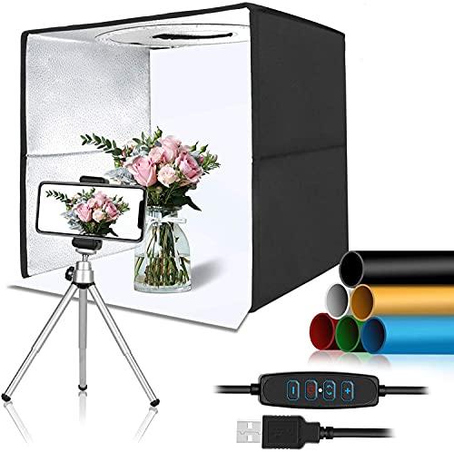 Estudio fotográfico portátil de 30 cm, mini tienda de luz con 120 luces LED, tienda de tiro, caja de fotos, kit de 3 modos de iluminación y 10 niveles de brillo Softbox con 6 fondos