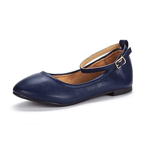 DREAM PAIRS Little Kid Sole-Fina-K Navy Girl's Ankle Strap Ballerina Flat Shoes - 1 M US Little Kid