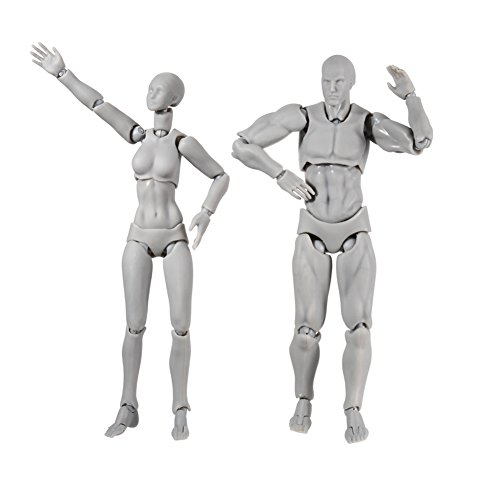 igreatwall Zeichenpuppe, ein Paar Action-Figuren-Modell mit verschiedenen Gesten, Modellständer, perfekt zum Zeichnen, Skizzieren, Malen, Künstler