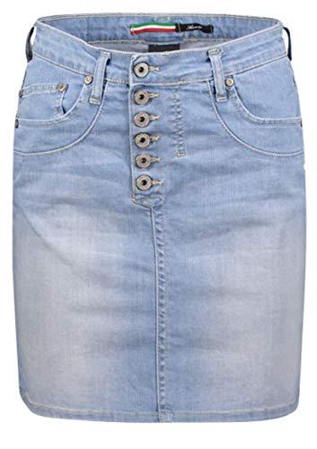 Please Damen Midi Jeansrock Easy Skirt G713 - Blau - Light Blue Grösse XS S M L XL 98% Baumwolle, Größe:XS, Farbe:Blue Denim (1670)