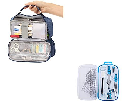 FuTaiKang Aufbewahrungstasche aus Segeltuch + Geometrie-Set Stifthalter Schulbedarf Reise Geometrie Zeichnung Werkzeug Lineal Kompass Winkelmesser Kit