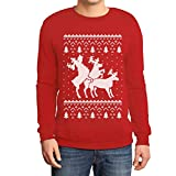 Shirtgeil Christmas Ugly Sweater Renne Natale Threesome Sex Felpa/Maglione da Uomo Large Rosso
