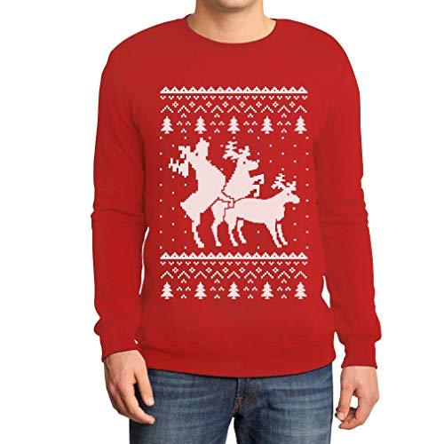 Rehntier Dreier - Lustiger Herren Weihnachtspullover Sweatshirt Medium Rot
