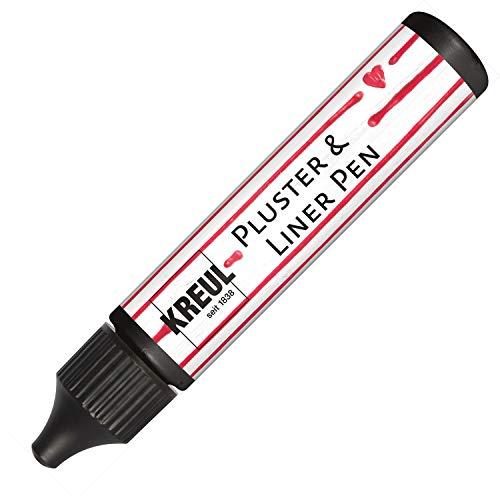 Kreul 49819 - Pluster und Liner Pen schwarz, 29 ml, Plusterfarbe zum Dekorieren und Verzieren, für Dekoeffekte durch aufplustern im Backofen, mit Bügeleisen oder Fön