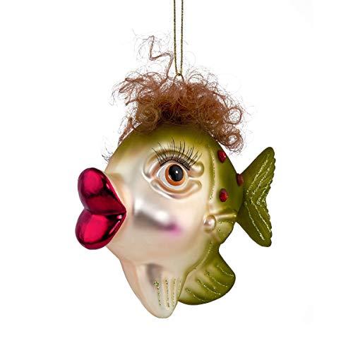 Butlers Hang ON Anhänger Fisch mit Locken - Stylische Weihnachtsdeko - Weihnachtsschmuck Baumschmuck - Glas - viele Verschiedene Designs