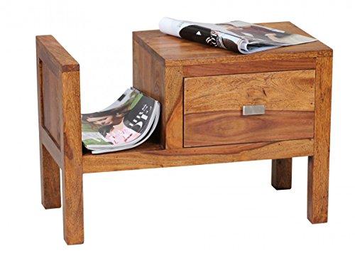KADIMA DESIGN Sheesham lit en Bois Massif avec tiroir et Porte-revues 60 x 30 x 40 cm