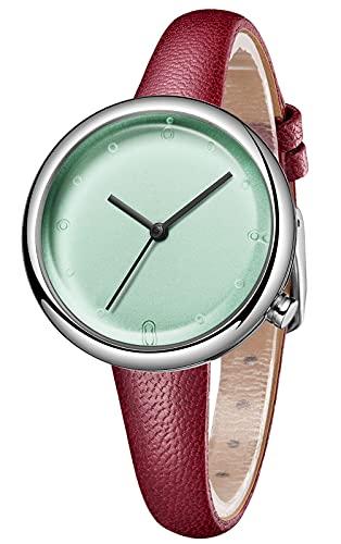CIVO Reloj de pulsera para mujer, resistente al agua, minimalista, correa de piel, elegante, informal, analógico, de cuarzo, para mujeres y niñas, 3 caqui.,