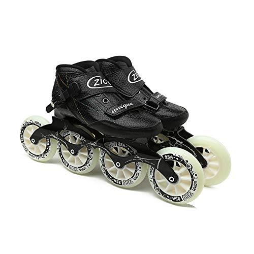Unisexo En línea Patines Profesional Polea Velocidad Patinaje Zapatos Ajustable tamaño Interior Al Aire Libre Patinaje Juguetes,Black,31