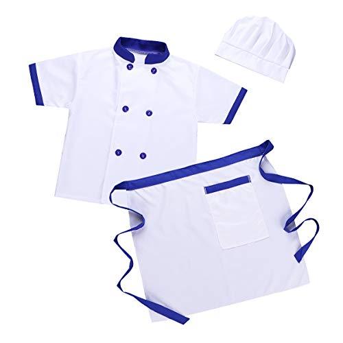 IEFIEL Garçon Fille Carnaval Déguisement Chef Cuisinier Enfants Vêtements de Cours Cuisine T-Shirt & Tablier & Toque de Chef Costume Cuisinier Halloween Tenues 4-14 Ans Bleu&Blanc 5-6Ans