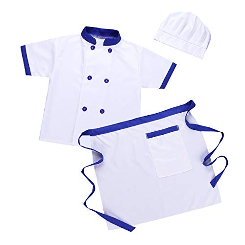 iiniim Unisex Niño Niña Disfraz Chef Cocinero Traje Blanco Manga Corta Conjunto Camiseta Delantal Sombrero para Halloween Cosplay Party Costume Ropa Accesorios de Cocina Azul 4-5 Años