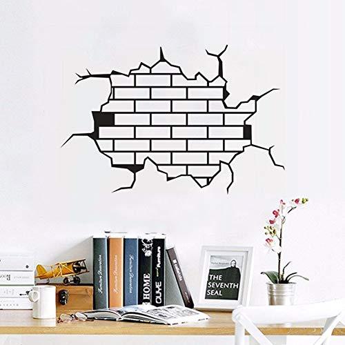 NSRJDSYT Home Decor Wandkunst Wandbild 3D Break The Wall Brick Vinyl Wandaufkleber Abnehmbare Design Bricks Wandtattoo 57x38cm