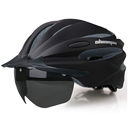 Shinmax Fahrradhelm mit LED-Licht Radhelm mit Wiederaufladbarem USB LED Rücklicht Helm Abnehmbarem Magnetischem Visier Abnehmbarer Sonnenschutz Kappe Fahrradhelm Verstellbare Größe Erwachsene Radhelm.