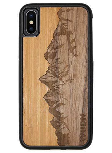 Wooden Phone Case (Sawtooth Mountains | Bamboo Sky) Compatible with iPhone Xr, iPhone 10r