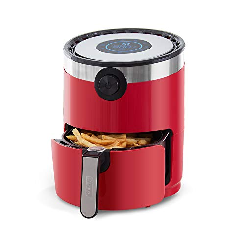 Dash DMAF360GBRD02 AirCrisp Pro Electric Air Fryer + Oven Cooker with Digital Display + 8 Presets, Temperature Control, Non Stick Fry Basket, Recipe Guide + Auto Shut Off Feature, 3qt, Red