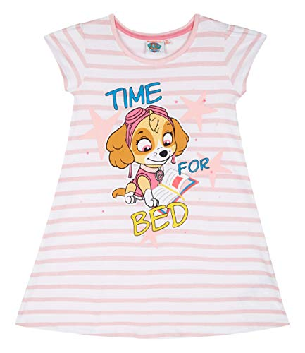 Paw Patrol Kinder Mädchen Nachthemd Kurzarm Gr.98-128 Schlafanzug Pyjama neu!, Größe:110, Farbe:weiß