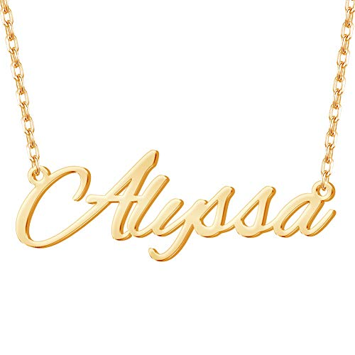 Misstrend Personalized Name Necklace, 18K Gold Plated Custom Nameplate Necklace Dainty Customized...