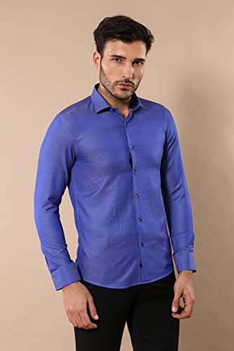 Wessi Camisa Ajustado Ojo De Pájaros Estampados para Hombre Shirt, Azul, 48 Mens