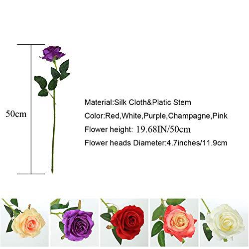 JUSTOYOU 10 Pack Künstliche Seide Rose Blumen Hochzeit Sträuße(rot) - 5