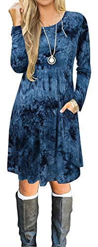 Aliling Autumn Dresses for Women, Women's Long Sleeve Dress Cute Casual Tie Dye Pockets A Line Swing Tunic Skater Dress for Leggings Blue L