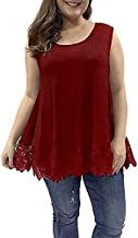 Allegrace Women Plus Size Tank Tops Lace Summer Sleeveless Tunic Top Casual Flowy Loose Camis Wine Red 3X