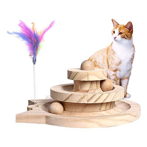 HiCollie 猫のおもちゃ 球遊び タワー 遊ぶ盤 ペット 木製おもちゃ 猫用ボール 回転 ボール 猫プレゼント 運動不足解消 知育玩具 安全素材 高級感 人気ペット用品 羽棒付