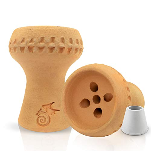 Little Dragon® Shisha Kopf aus 100% Vollton inkl Dichtung - Hitzeoptimierter Voll-Tonkopf für dichten Rauch und mehr Geschmack - Massiv & Handmade - leichter Kopfbau - Hochwertiges Shisha Zubehör