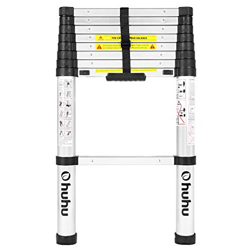 Ohuhu 8.5 FT Aluminum Telescoping Ladder, One-Button Retraction Extension Ladder for Home, Collapsible Ladders with Spring Loaded Locking Mechanism, Telescopic Ladder for Roof Ceiling, 330 LB Capacity