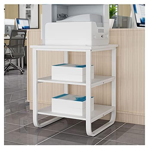 zlw-shop Soporte para Impresora Piso de pie de 3 Capas Stand Metal Fijado Marco de Oficina Máquina de fax Escuador Estante Familia Teléfono de la cabecera Gabinete para Impresora (Color : White)