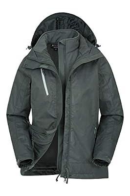 Mountain Warehouse Bracken Extreme Womens 3 in 1 Waterproof Jacket - Breathable Rain Jacket, Thermal Tested Raincoat, Detachable Hood - for Winter, Camping & Walking