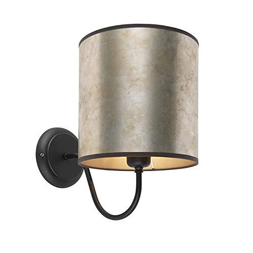 QAZQA Classique/Antique Applique Murale classique noir avec abat-jour en velours de zinc - Mat Métal/Tissu Argenté,Noir,Taupe Rond E27 Max. 1 x 40 Watt/Luminaire/Lumiere/Éclairage/intérieur /