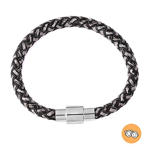 TJC Genuine Braided Leather Braided Bracelet (Size 7) in Stainless Steel - Black