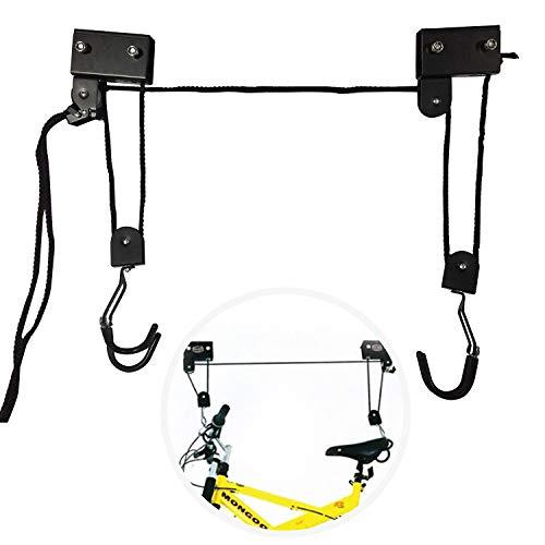 Fahrrad Deckenlift 57 kg Traglast Fahrrad Bike Lift Schwarz Fahrradlift Universal mit Haken und Seilbremse für Fahrrad und E-Bikes geeignet