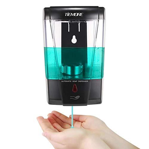 TIEMORE Dispensador Automático de Jabón Montado en la Pared 700ml Sin Contacto con Sensor IR Dispensador de Desinfectante de Manos para Lavarse Las Manos en la Cocina y el Baño
