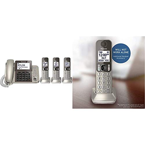 PANASONIC Corded/Cordless Phone System with Answering Machine and One Touch Call Blocking – 3 Handsets (Champagne Gold) & Cordless Phone Handset Accessory (Champagne Gold)