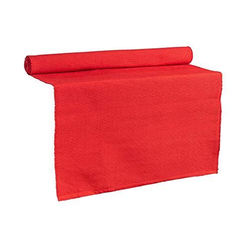 Nicola Spring Camino de Mesa - Se Puede Lavar - Algodón Acanalado - Rojo - 183 x 48cm