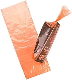 Orange Newspaper Bags | 1000 Bags | 7.5 x 21 | Clear Plastic Poly Bags for Newspapers | Cardboard Header Perforated Easy Tear Off Design, Protect Against Rain Weather Bugs | .8 Mil LDPE NPB3OB