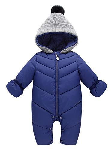 Happy Cherry Kleinkind Jungen Mädchen Schneeanzug mit Kapuze Winter Solide Farbe Jumpsuit Wattierter Overall (Marine Blau)