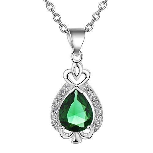 Einfache Silber 925 Wassertropfen Geformte Edelsteine Halskette Für Frauen Herzförmige Anhänger Aquamarin Smaragd Geschenke Grün