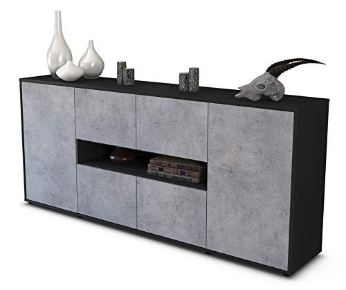 Stil.Zeit Sideboard Farina/Korpus anthrazit matt/Front Beton Optik (180x79x35cm) Push-to-Open Technik