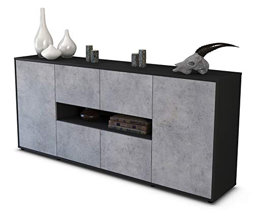 Stil.Zeit Sideboard Farina/Korpus anthrazit matt/Front Beton Optik (180x79x35cm) Push-to-Open Technik