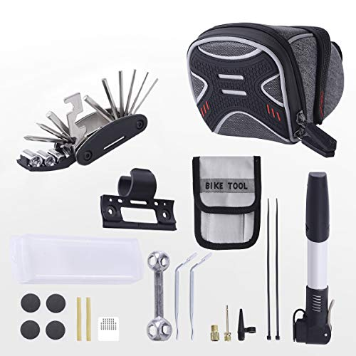 3-H satteltasche Fahrrad,Kompakte Fahrradtasche Keil Satteltasche, für Mountainbikes, Fahrräder, und Rennräder,Fahrrad Mini Pumpe, Fahrradwerkzeug Praktisches Fahrrad Werkzeug- und Reparatur (Grau)