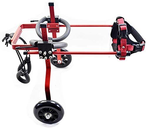WZCC Médica Rehabilitación de mascotas Soporte de scooter asistido Gato Perro Discapacidad de silla de ruedas Parálisis de silla de ruedas para mascotas Carro de extremidades traseras Carro Pequeño m