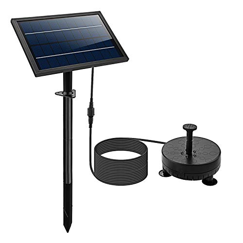 Lewisia Battery Backup Solar Fountain Pump with LED Lighting for Bird Bath Pool Koi Pond Garden...