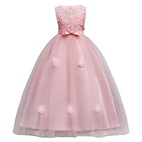 IBTOM CASTLE Vestito Principessa per Ragazza Elegante Floreale Fiore Pizzo Abiti da Sera Matrimonio Damigella d'Onore Tulle Rose 12-13 Anni