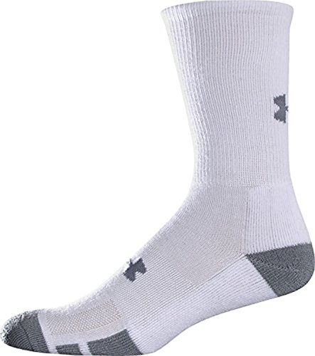 Under Armour Boy`s Heatgear Training Crew Socks, 4 Pack (Youth Large, White (100) / Stealth Gray)