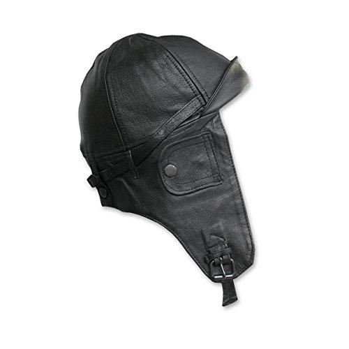 Mil-Tec Cuero de la Capilla de Estilo Aviador Negro Negro Negro Talla:GR.XL/61-62