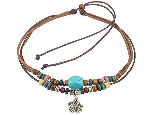 Ancient Tribe Adjustable Hemp Cord Wood Beads Beaded Surfer Necklace Turquoise Bead