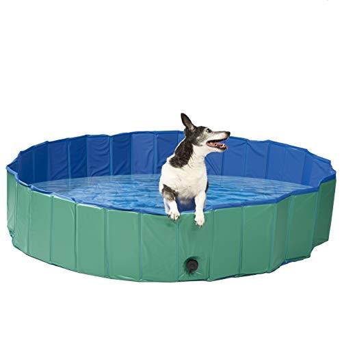 Piscina per Cani Pieghevole, Extra Grande 160x30 cm - Antiscivolo, PVC di Alta qualità con Pareti Oxford Rinforzate - Vasca da Bagno per Animali Cucciolo Gatti o Piscina per Bambini.