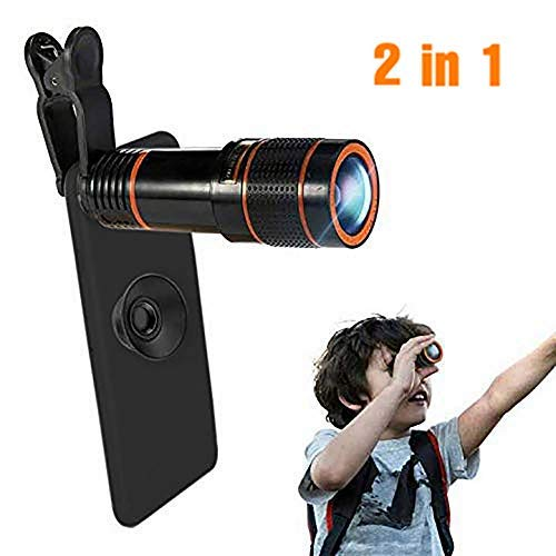 Phone Camera Lens, Qliampe 12X Zoom Telephoto Lens for Smartphone 2 in 1 HD Dual Focus Monocular for Adults Clip on Telephone Lens Kit Compatible iPhone X/8/7/6/6s Plus Samsung
